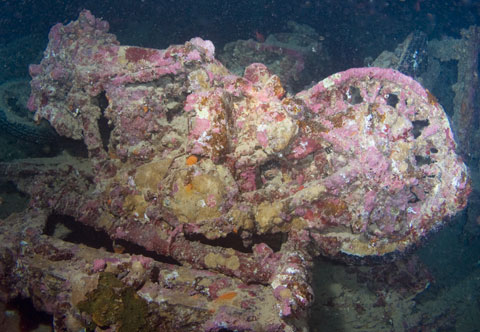 A BSA motorbike in the hold of the Thistlegorm