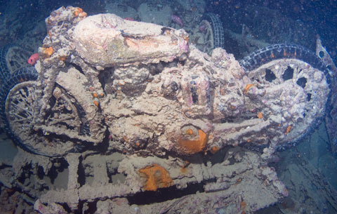 A BSA motorbike in the Thistlegorm